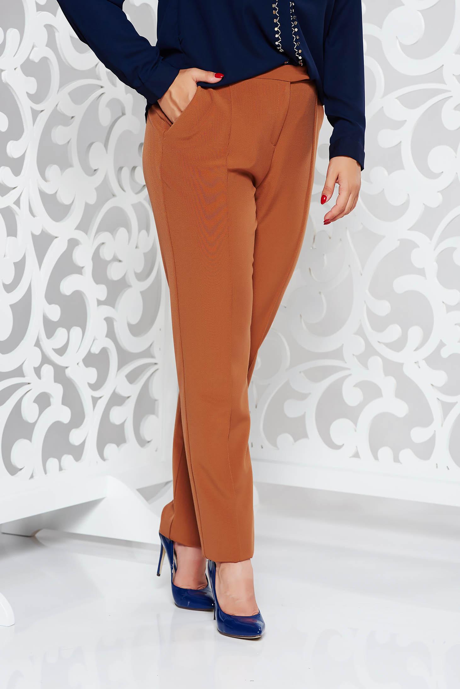 Pantaloni StarShinerS maro office cu talie medie cu un croi drept din stofa usor elastica