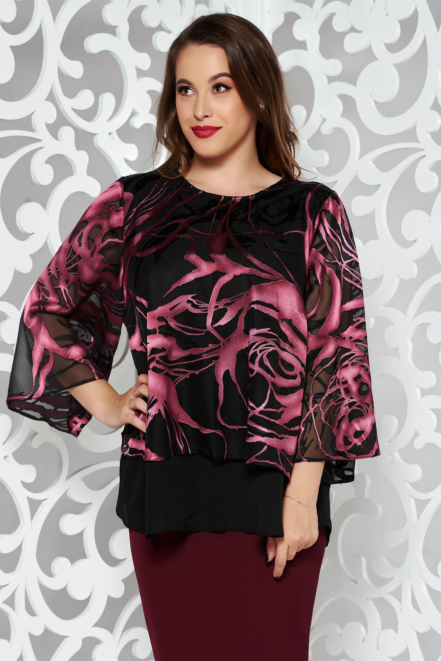 Purple occasional flared women`s blouse voile fabric with floral print