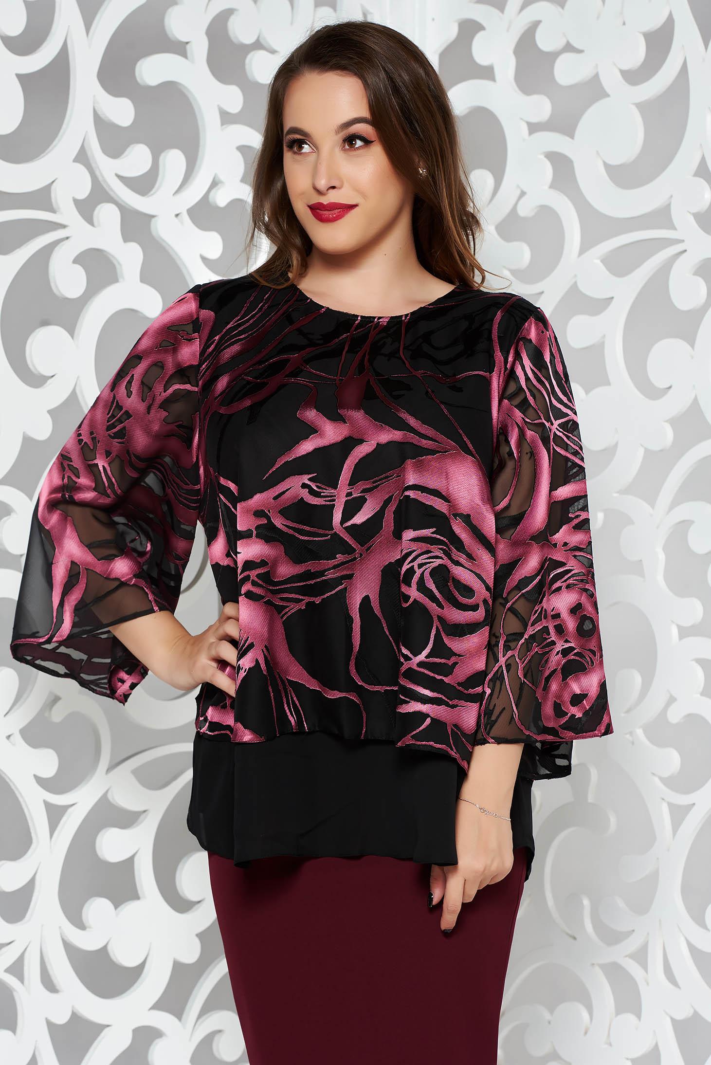Bluza dama mov eleganta cu croi larg din voal cu imprimeu floral si maneci largi