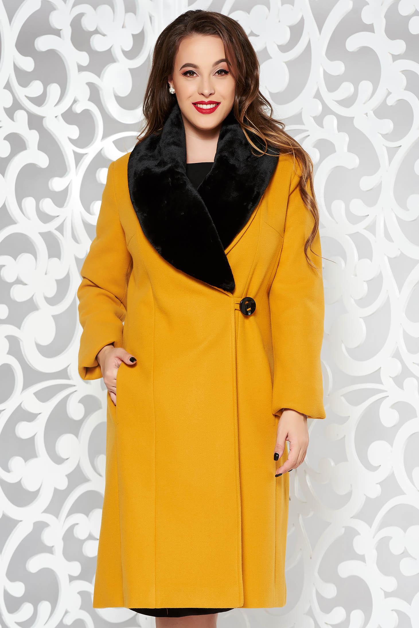 LaDonna mustard elegant wool coat arched cut fur collar