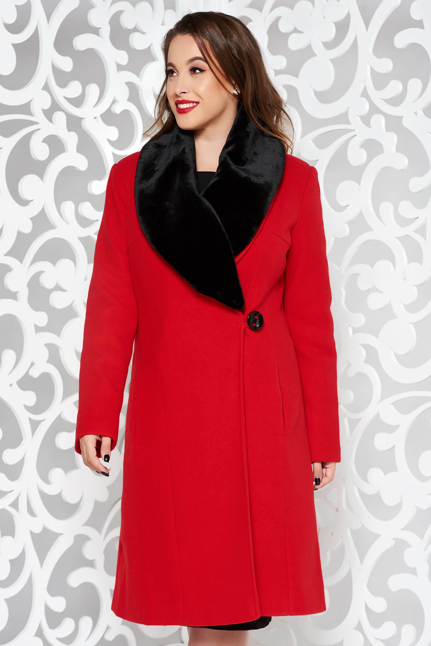 LaDonna red elegant wool coat arched cut fur collar