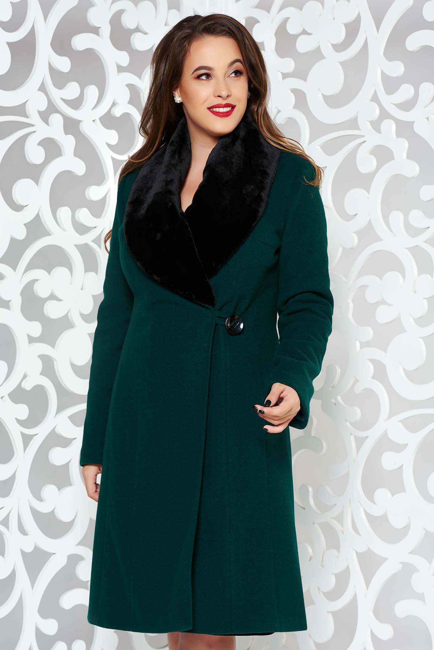 LaDonna darkgreen elegant wool coat arched cut fur collar