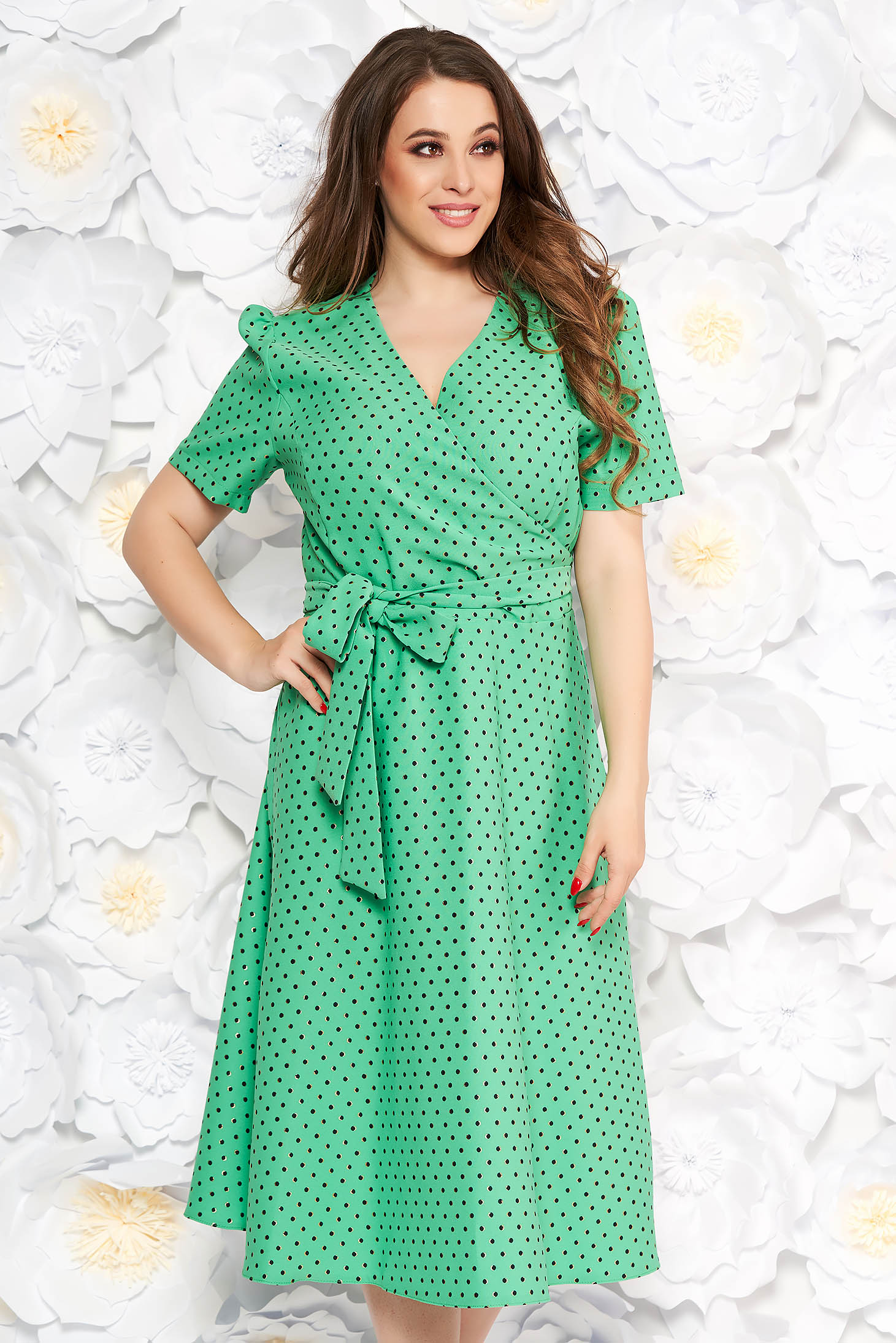 Lightgreen elegant cloche dress slightly elastic fabric with dots print accessorized with tied waistband