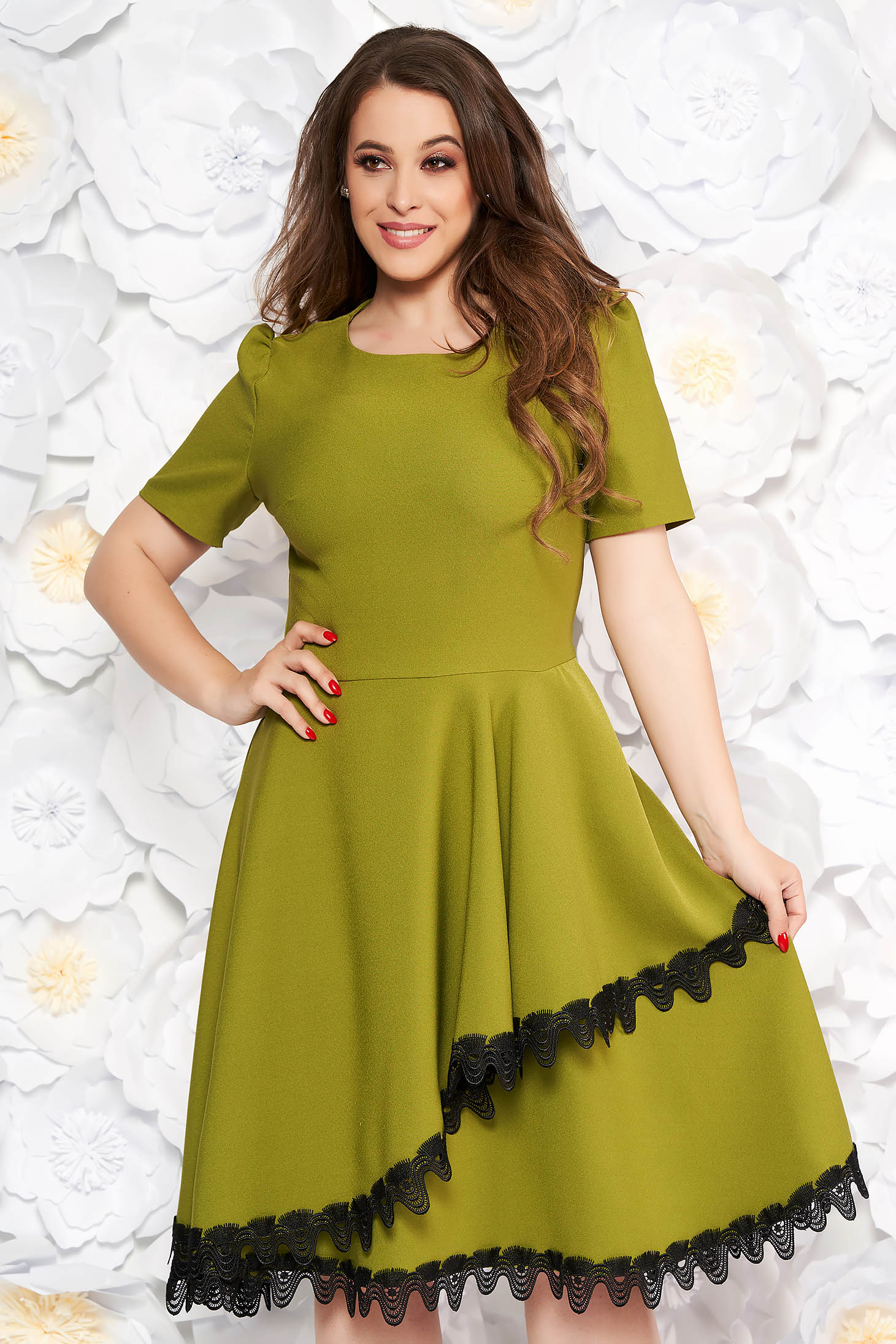 Khaki elegant midi cloche dress flexible thin fabric/cloth with lace details with ruffle details