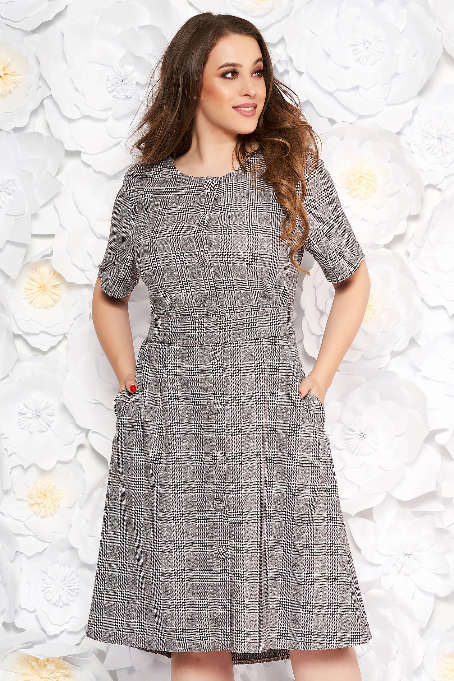 Grey midi daily flared dress from non elastic fabric with chequers with pockets