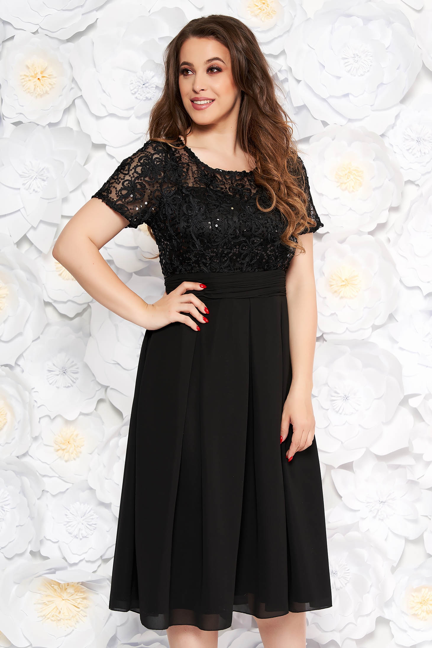 Black occasional midi cloche dress slightly elastic fabric laced with inside lining with cut back