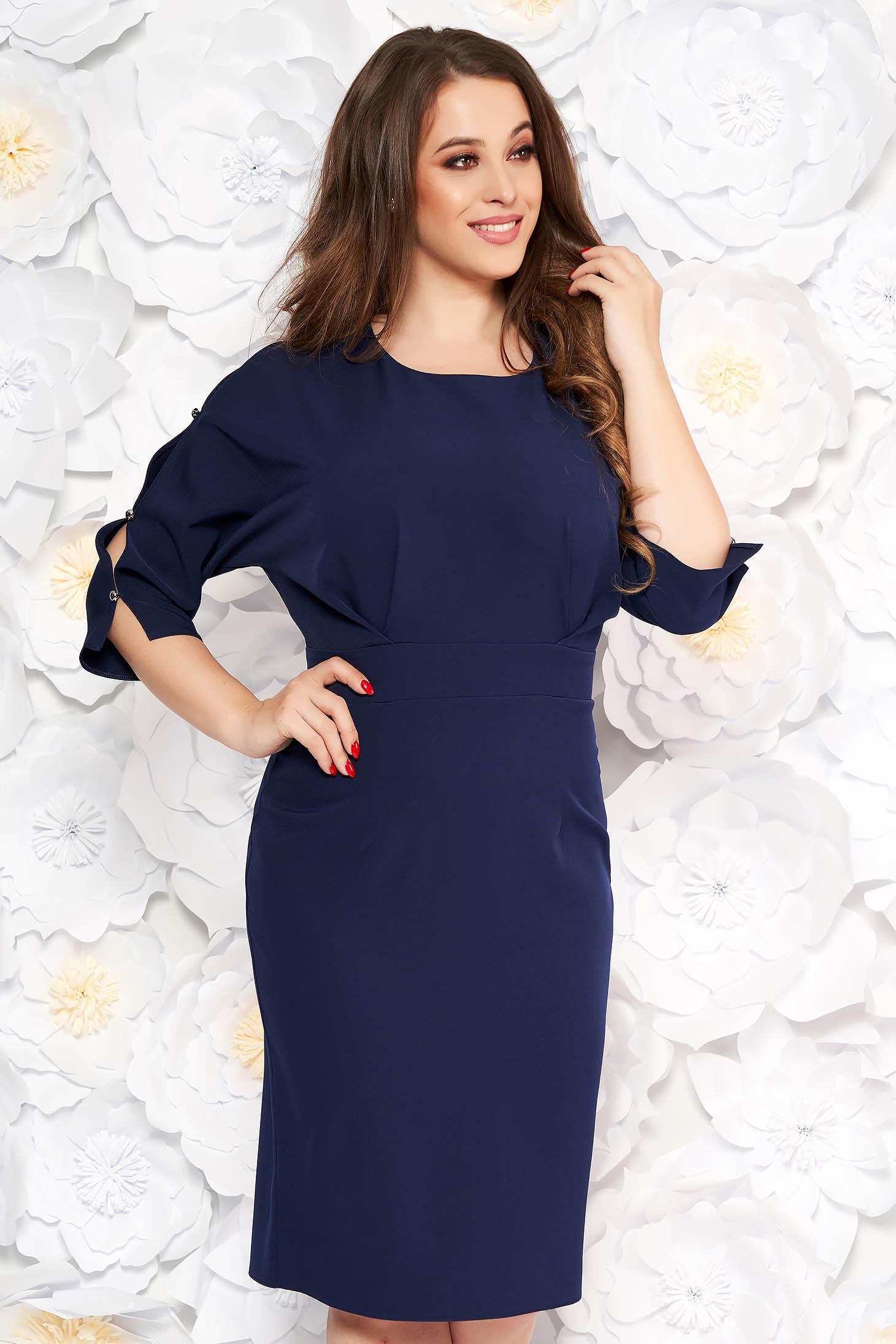 Darkblue elegant pencil dress slightly elastic fabric with cut-out sleeves