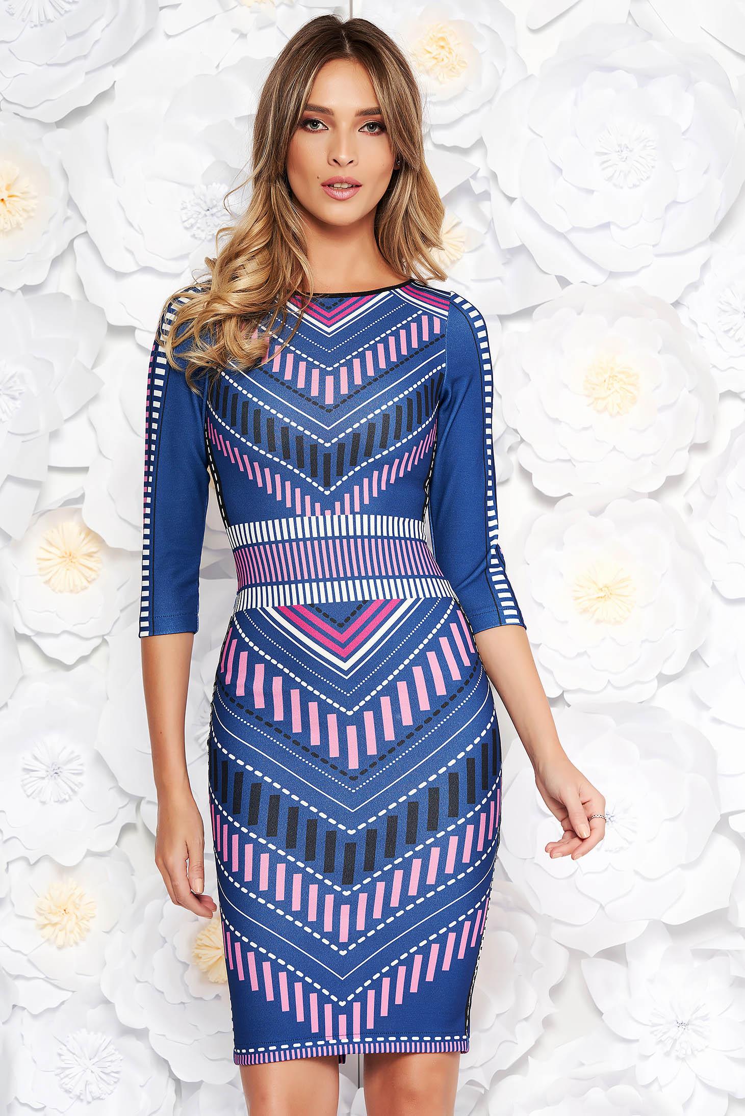 Rochie StarShinerS albastra cu un croi mulat din material elastic cu print CUSTOM MADE