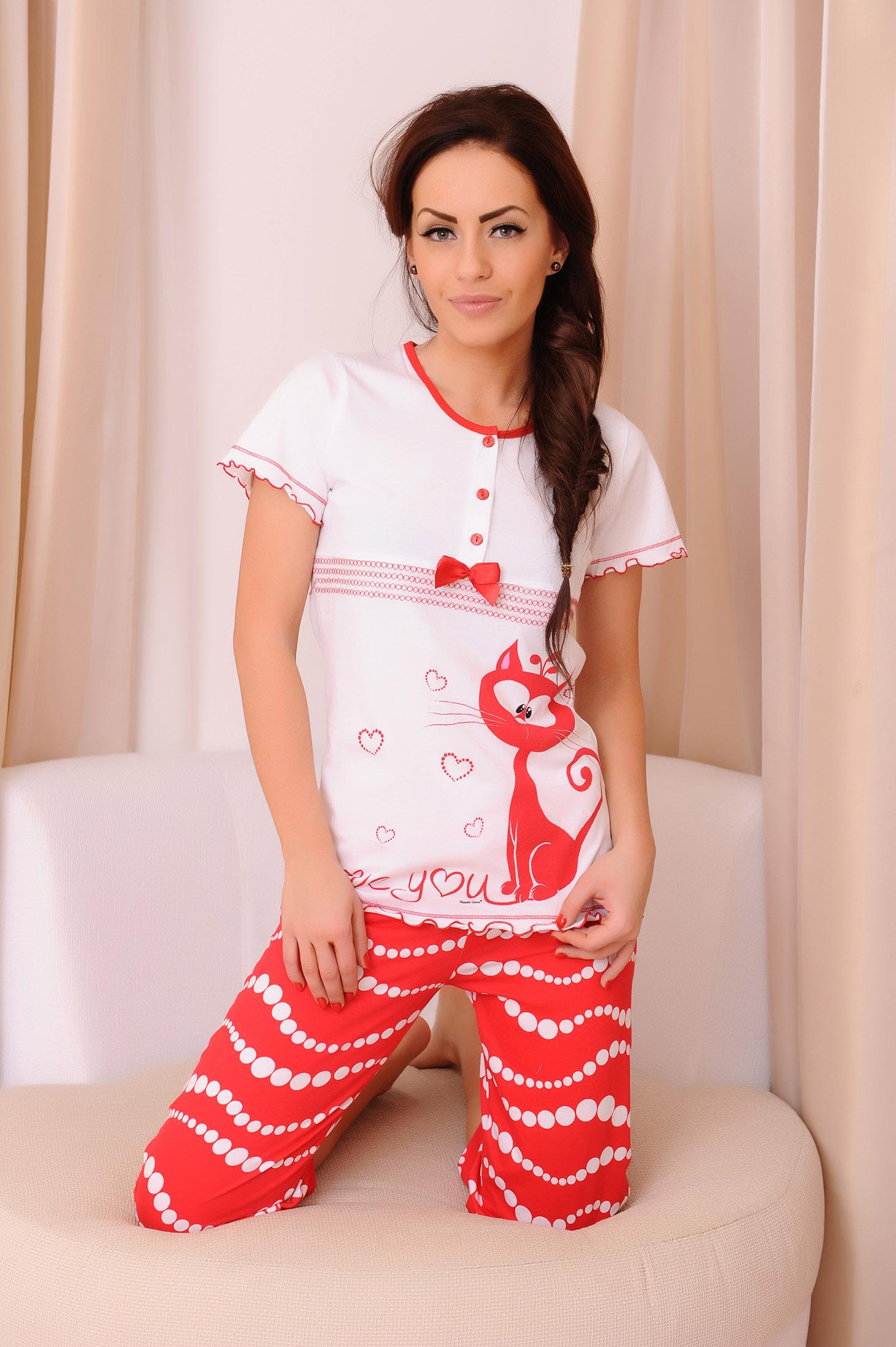 Piros Cats Love Pizsama d47e26d428