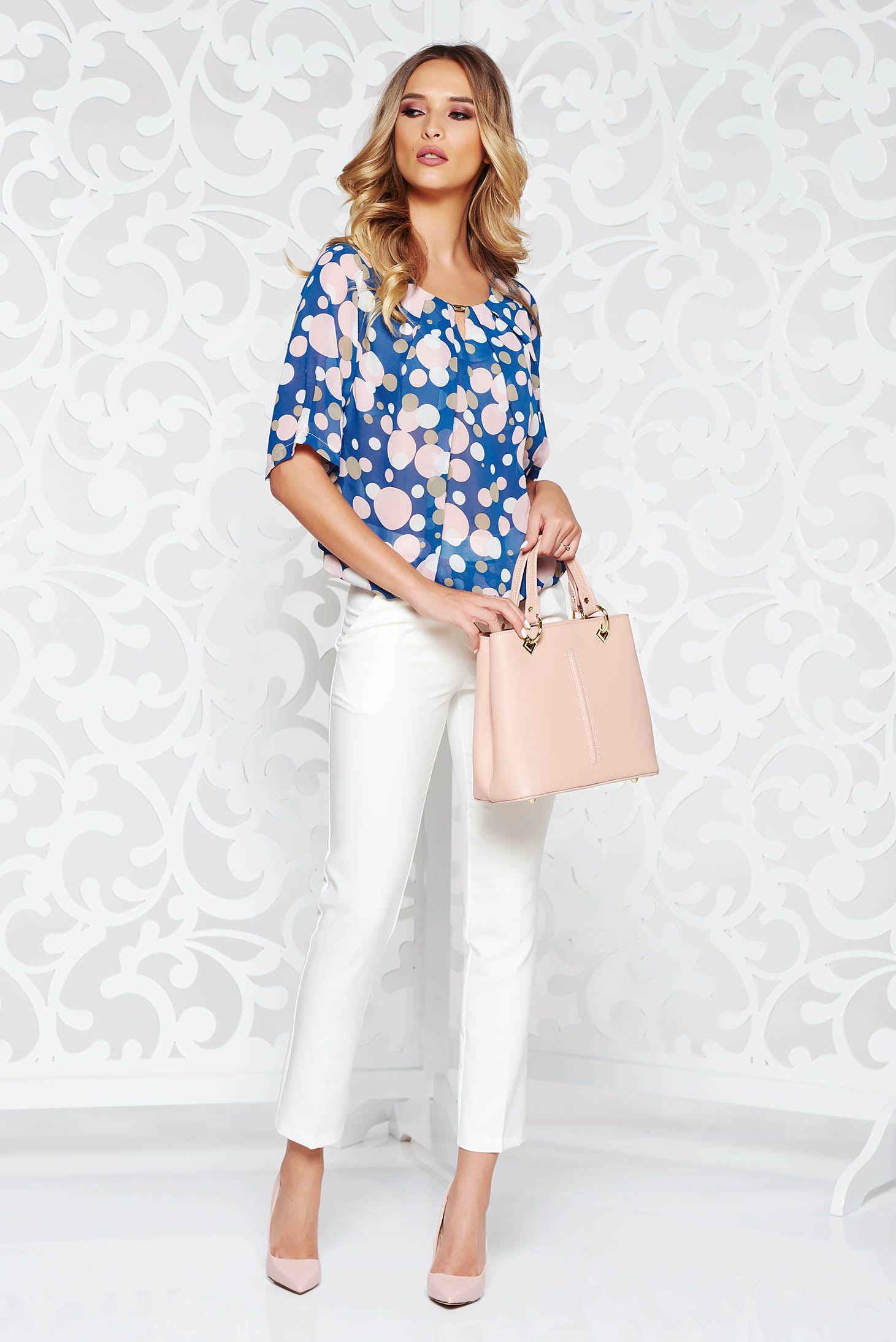 c459adf2bb142e Blue office flared women`s blouse airy fabric with elastic waist with dots  print